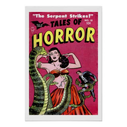 Old Book Cover Posters : Tales of horror vintage comic book cover poster zazzle