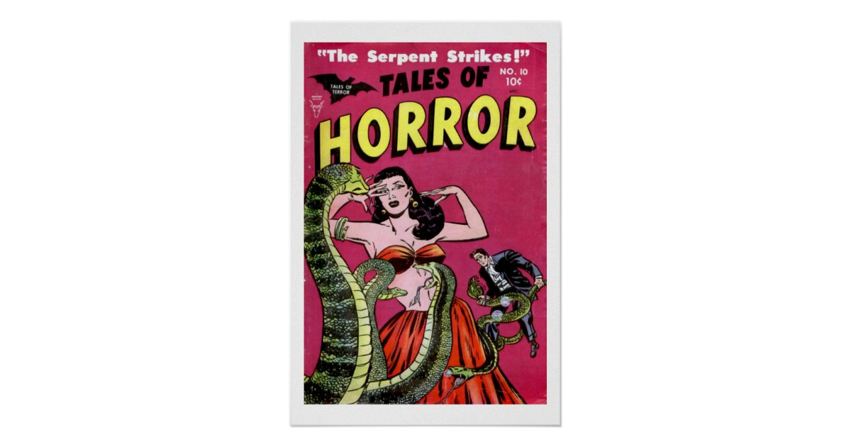 Vintage Comic Book Cover Posters : Tales of horror vintage comic book cover poster zazzle