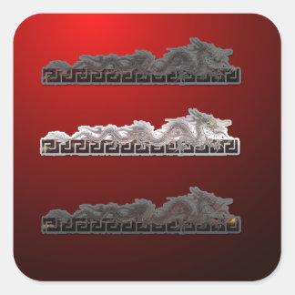 Talismán 2012 del dragón del comerciante su pegatina cuadrada