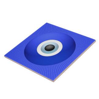 Talismán a proteger contra mal de ojo azulejo cuadrado grande