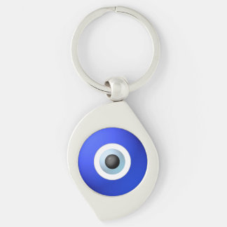 Talisman to Protect Against Evil Eye Silver-Colored Swirl Metal Keychain