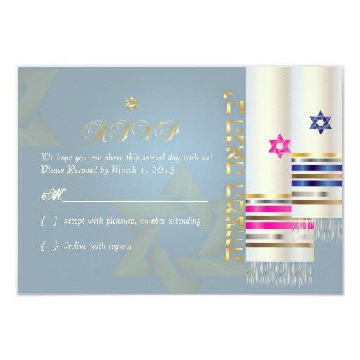 Talit del rsvp de PixDezines/mitzvah elegante del Invitación 8,9 X 12,7 Cm