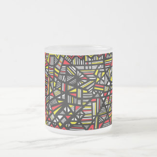 Talk Abstract Expression Yellow Black 10 Oz Frosted Glass Coffee Mug