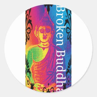 Talk broken buddha classic round sticker