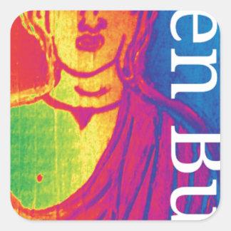 Talk broken buddha square sticker