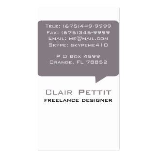Talk Bubble Brown Double-Sided Standard Business Cards (Pack Of 100)