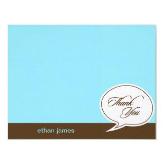 "Talk Bubble Flat Thank You Cards - Blue - 4.25"" X 5.5"" Invitation Card"