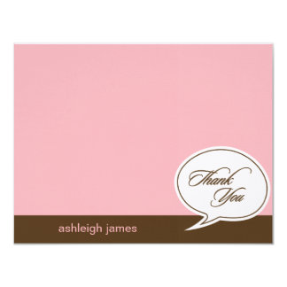 """Talk Bubble Flat Thank You Cards - Pink - 4.25"""" X 5.5"""" Invitation Card"""