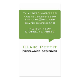 Talk Bubble Green Double-Sided Standard Business Cards (Pack Of 100)