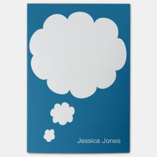 Talk Bubble Rounded Personalized Blue Custom Post-it® Notes