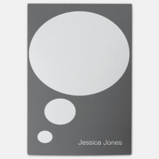 Talk Bubble Rounded Personalized Gray Custom Post-it® Notes