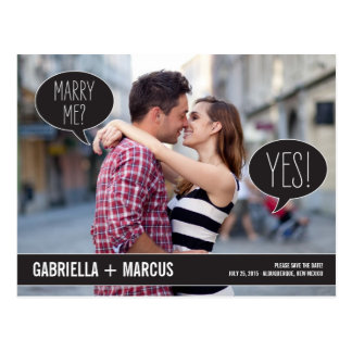 Talk Bubbles Wedding Save The Date Postcard