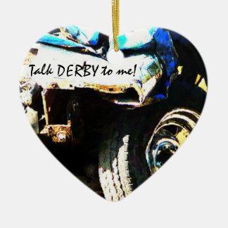 Talk DERBY to Me! Crashed & Smashed Derby Car Ceramic Ornament