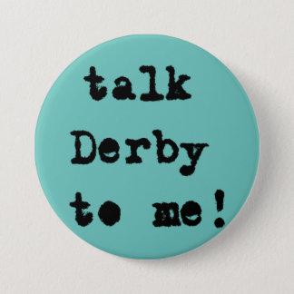 Talk Derby to Me Horse Races Aqua Button
