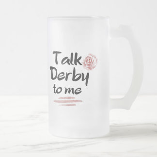 Talk Derby to me Red Rose Watercolor Frosted Glass Beer Mug