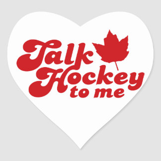Talk Hockey To Me Heart Sticker