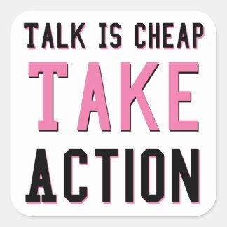 Talk Is Cheap Square Sticker