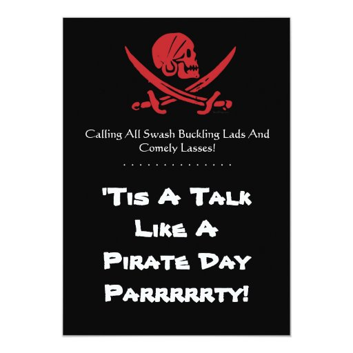 Talk Like A Pirate Day Custom Invitations