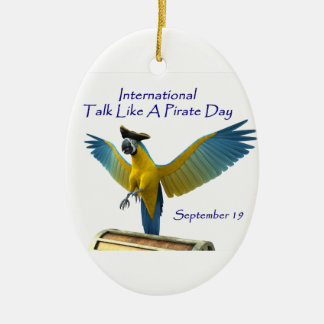 Talk Like a Pirate Day Double-Sided Oval Ceramic Christmas Ornament