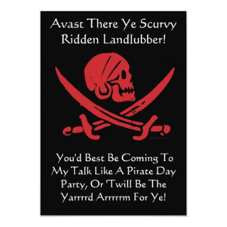 Talk Like A Pirate Day Party Invitations