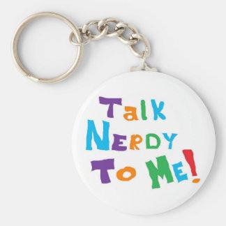 Talk Nerdy Basic Round Button Keychain