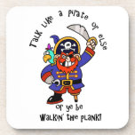 Talk Pirate or Walk The Plank - It's Pirate Day Beverage Coasters