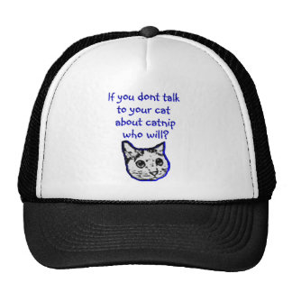 Talk to your cat about catnip trucker hat