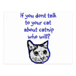 Talk to your cat about catnip postcards