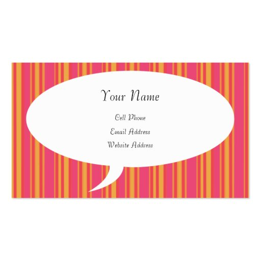 Talking About Me Striped Profile Card Business Cards
