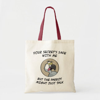 Talking African Grey Parrot Tote Bag