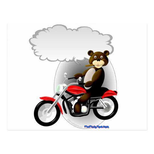 Talking Biker Teddy Bear Postcard