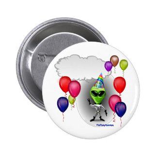 Talking Birthday Party Alien Pinback Button