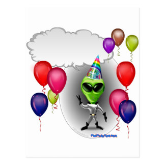 Talking Birthday Party Alien Postcard