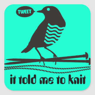 talking black bird knitting needles yarn label sticker