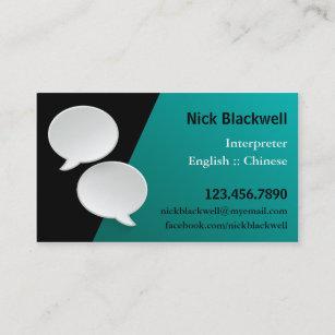 Interpreter business cards zazzle talking bubbles interpreter business card reheart Images