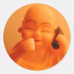 talking buddah round sticker