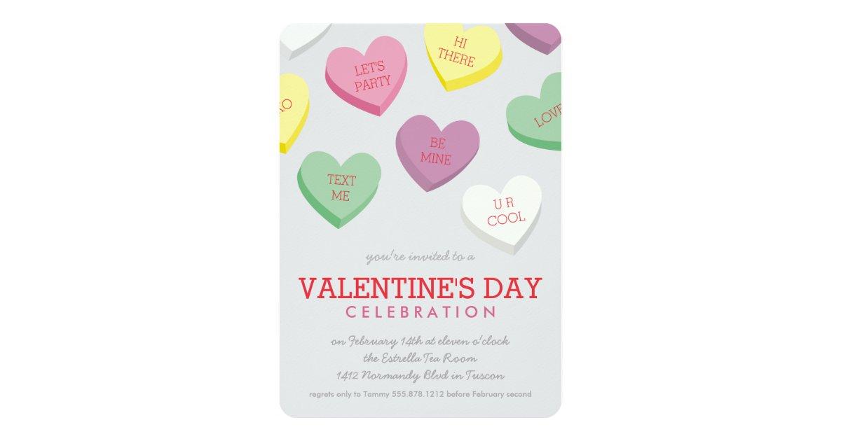 Talking Candy Heart Valentine Day Party Invitation | Zazzle.com