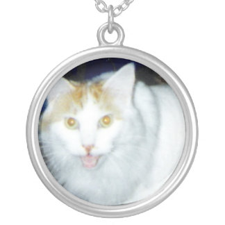 Talking Cat Round Pendant Necklace