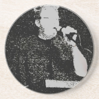 Talking figure black and white abstracted coaster