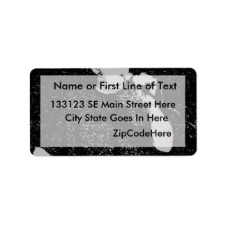 Talking figure black and white abstracted label