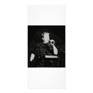 Talking figure black and white abstracted rack card
