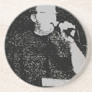Talking figure black and white abstracted sandstone coaster