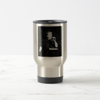 Talking figure black and white abstracted travel mug