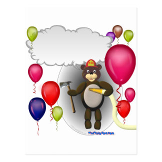 Talking Fireman Teddy Bear Birthday Postcard