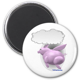 Talking Flying Pig 2 Inch Round Magnet