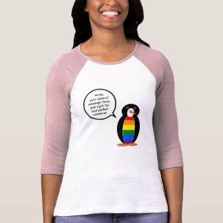 Talking Gay Pride Penguin Flag Tee Shirt