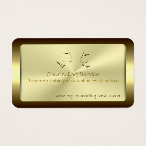Talking Heads, Counselor, golden metallic-effect Business Card