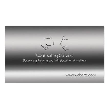 Talking Heads, Counselor, metallic-effect Business Card Template