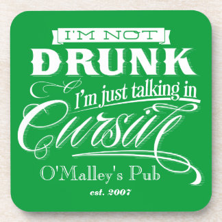 Talking In Cursive Cork Coaster