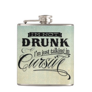 Talking In Cursive Hip Flask